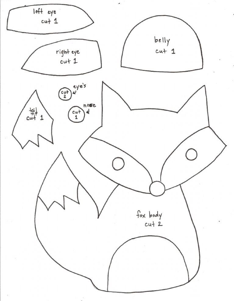 PDF pattern for felt fox Hand Puppets