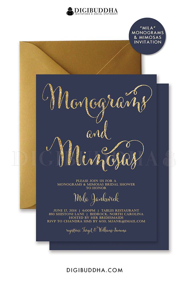 b7b5cbe00d60 Navy and gold glitter Monograms  amp  Mimosas bridal shower invitations.  Choose from ready made