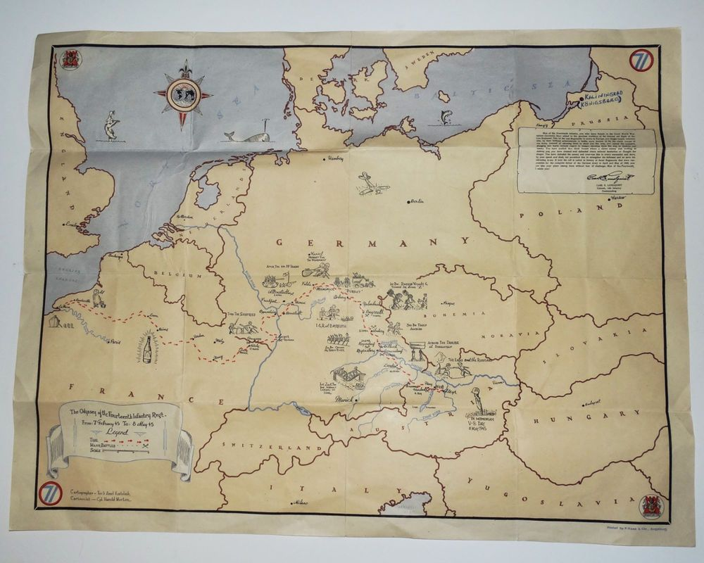 Old wwii map cartoon 14th infantry regt 1945 trekmajor battles old wwii map cartoon 14th infantry regt 1945 trekmajor battles france germany gumiabroncs Images