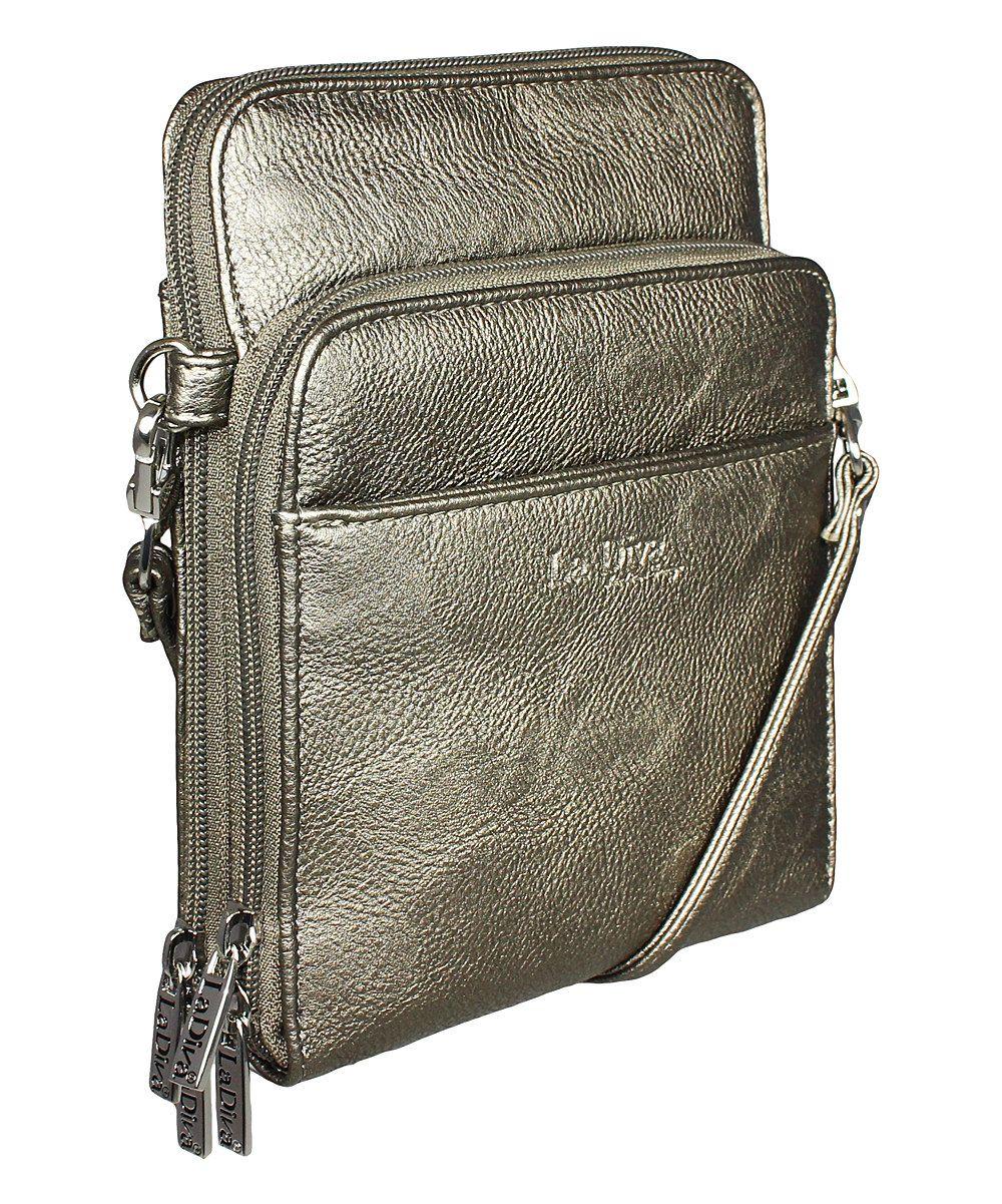 8bc5fda3a7c7 La Diva Handbags Pewter Mutli-Pocket Crossbody Bag