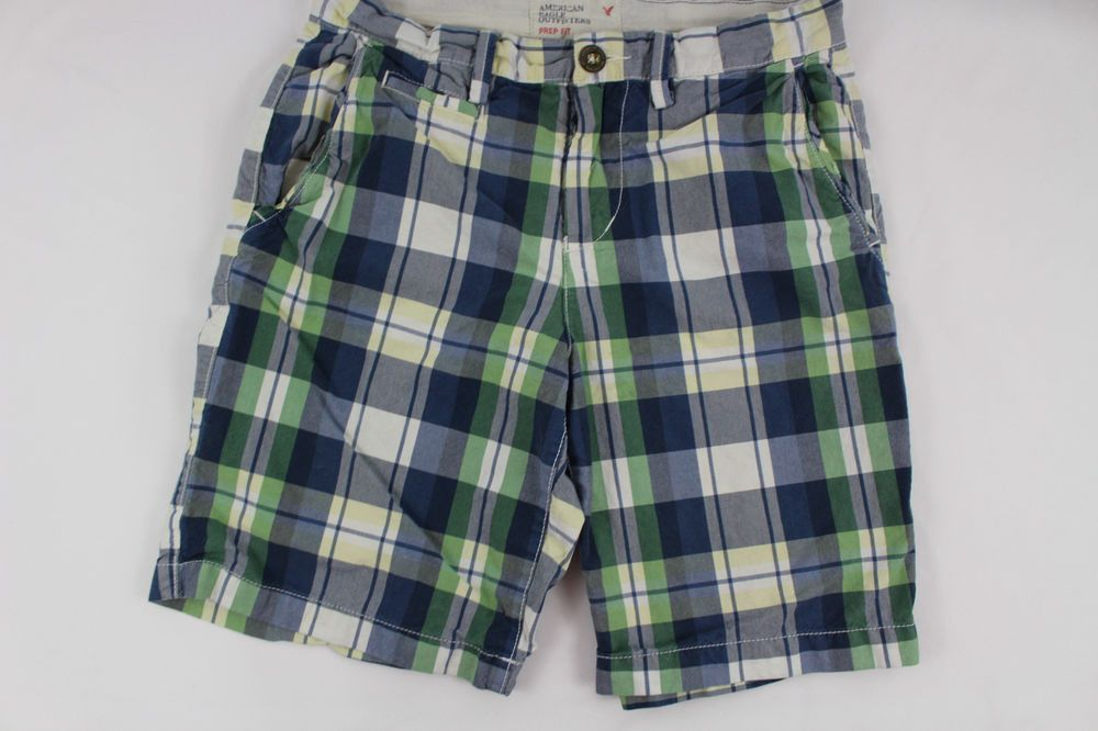 b15001ca Mens American Eagle Prep Fit Plaid Shorts Size 30 Blue Green White # AmericanEagleOutfitters #CasualShorts