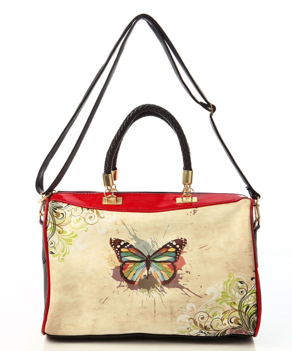 Love this Tan Butterfly Braided-Handle Tote by Goby on #zulily! #zulilyfinds