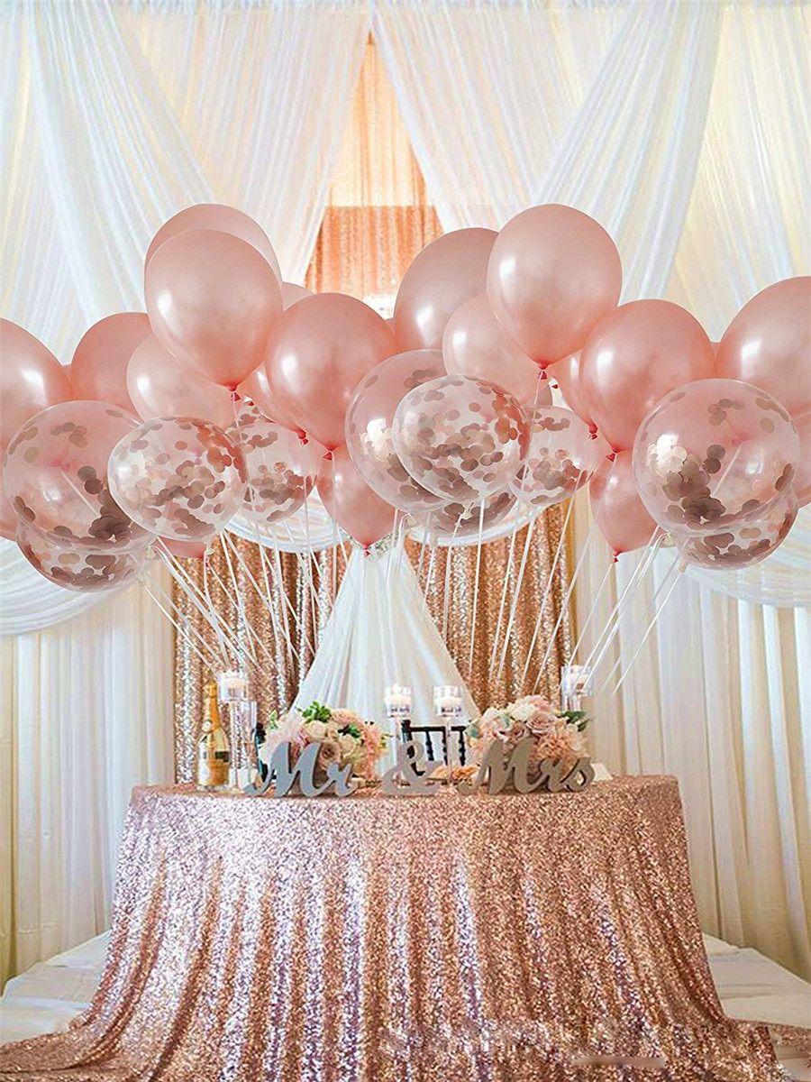 Rose Gold Balloons Bouchet Birthday Gender Reveal Baby Shower Latex