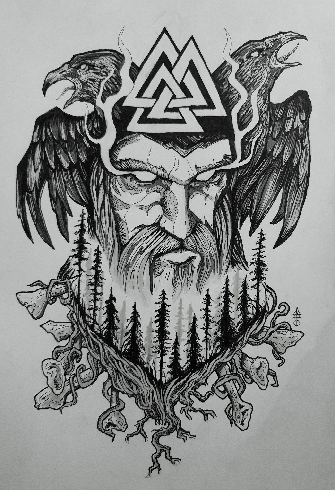 Old Norse Odin tattoo design #norsemythology Made this symbolic design to repres…
