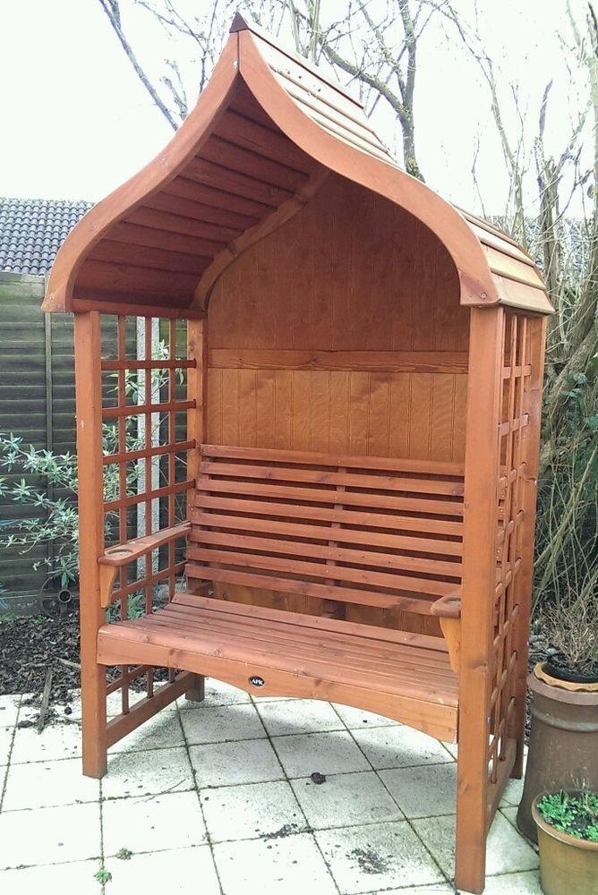 AFK Cottage Stained Wooden Garden Arbour. Teak in Garden & Patio ...