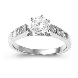 Sterling Silver Engagement Promise Ring with Round Clear CZ & Side Stones