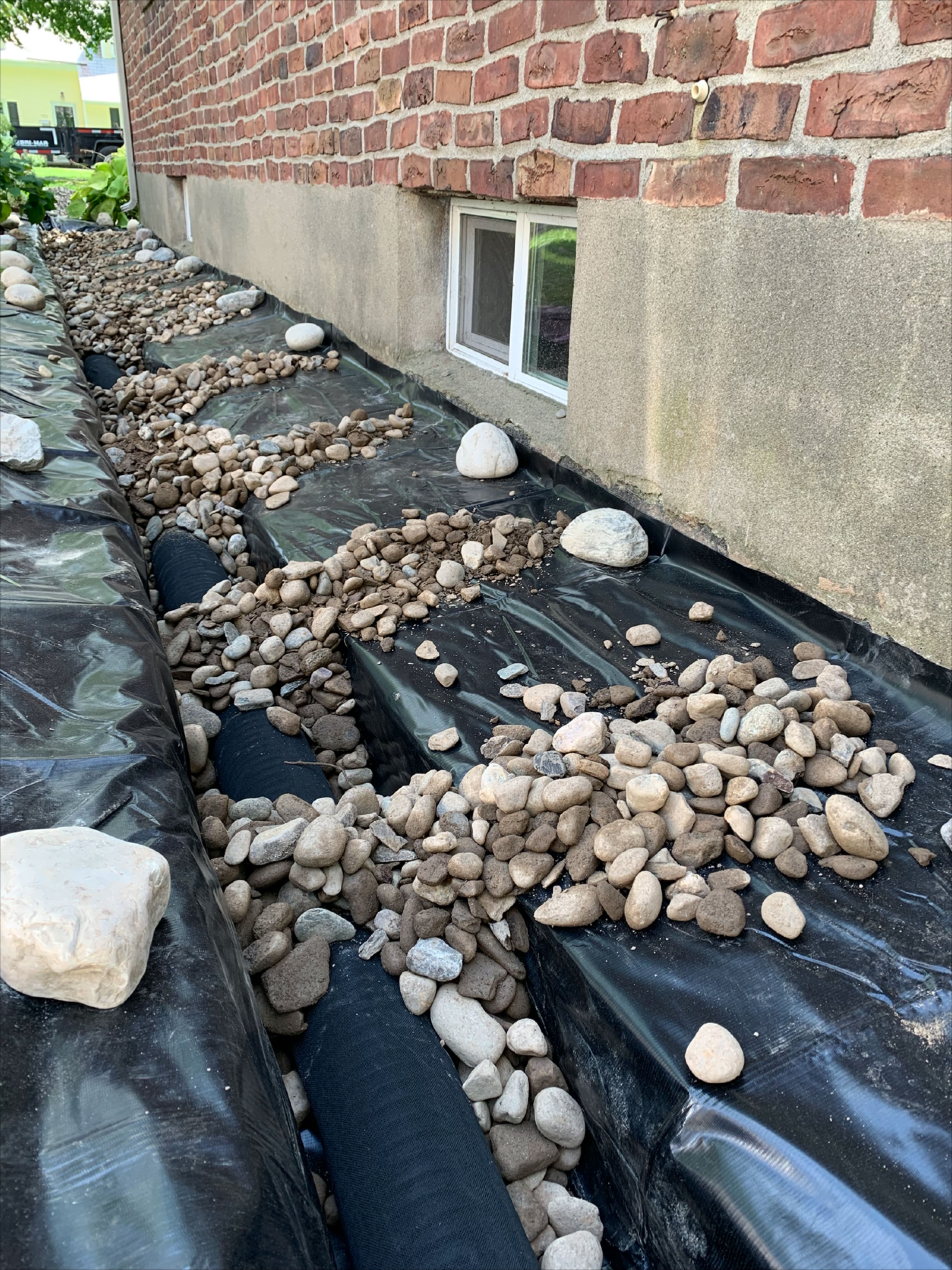 French Drain System Installation On Exterior Foundation Wall Exterior Wet Basement Waterproofing In 2020 French Drain French Drain Installation French Drain System
