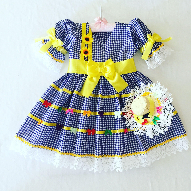 ab4468bad4 vestido xadrez Vestido Festa Junina Bebê