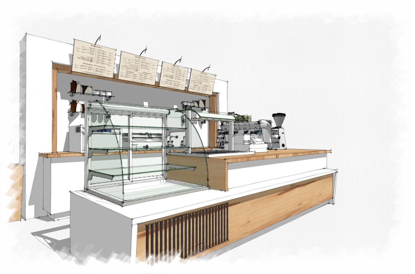 Coffee bar sketchup. Like the style of this Coffee bar