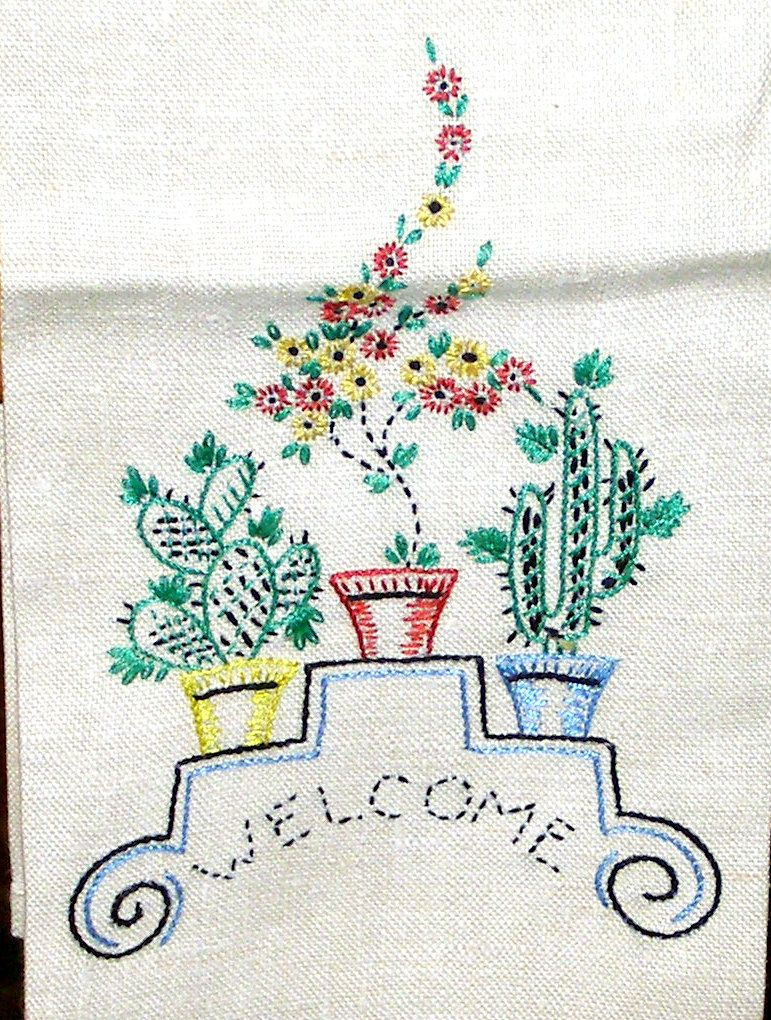 Vintage linen tea towel embroidered cactus garden by