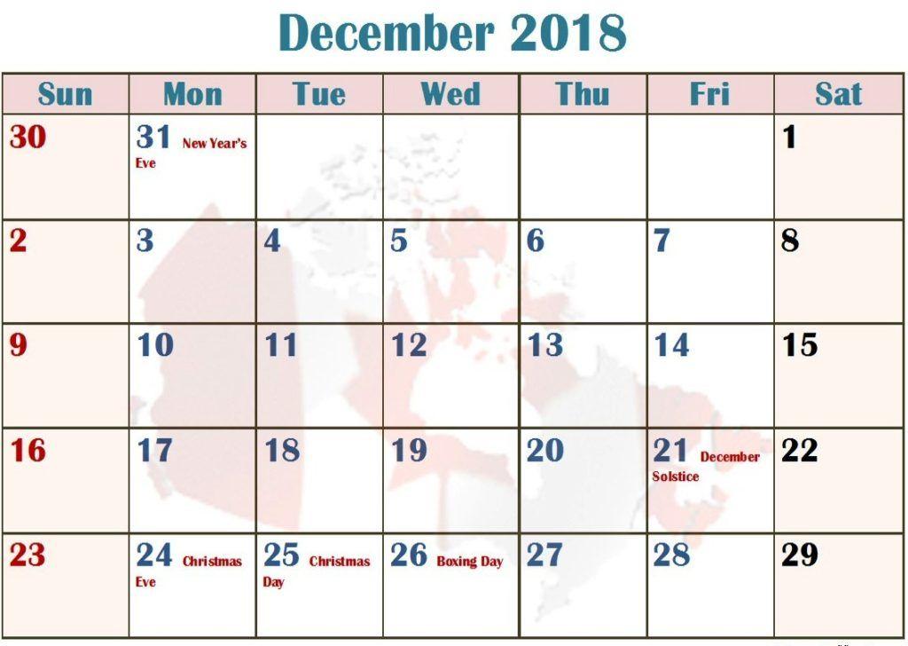 December 2018 Blank Calendar With Holidays Holiday Calendar