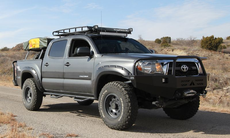 Tacoma 4 Door Gen 2 3 Standard Basket Rack Satellite Antenna Cutout Custom Trucks Truck Grilles Toyota Tacoma Roof Rack