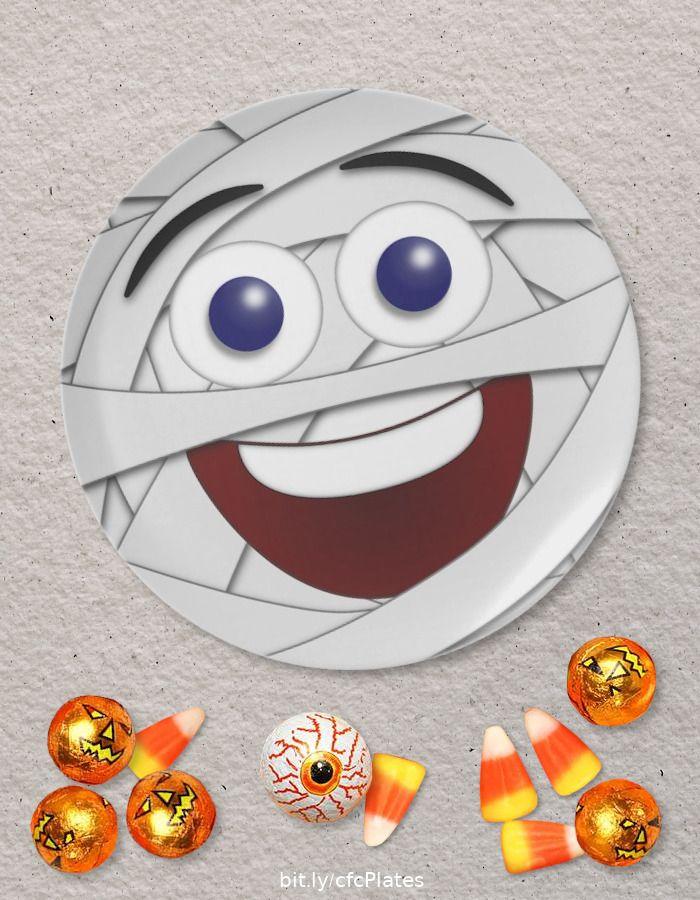 Halloween Emoji Text: Laughing Mummy Emoticon Melamine Plate