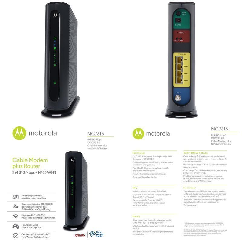 motorola 8x4 cable modem. motorola 8x4 cable modem gateway wi-fi n450 gige router with power boost mode 8x4 0