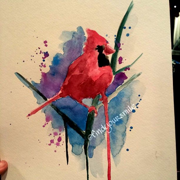 Watercolor Tattoo Cardinal For Grandpa Paint Splatter Tattoo