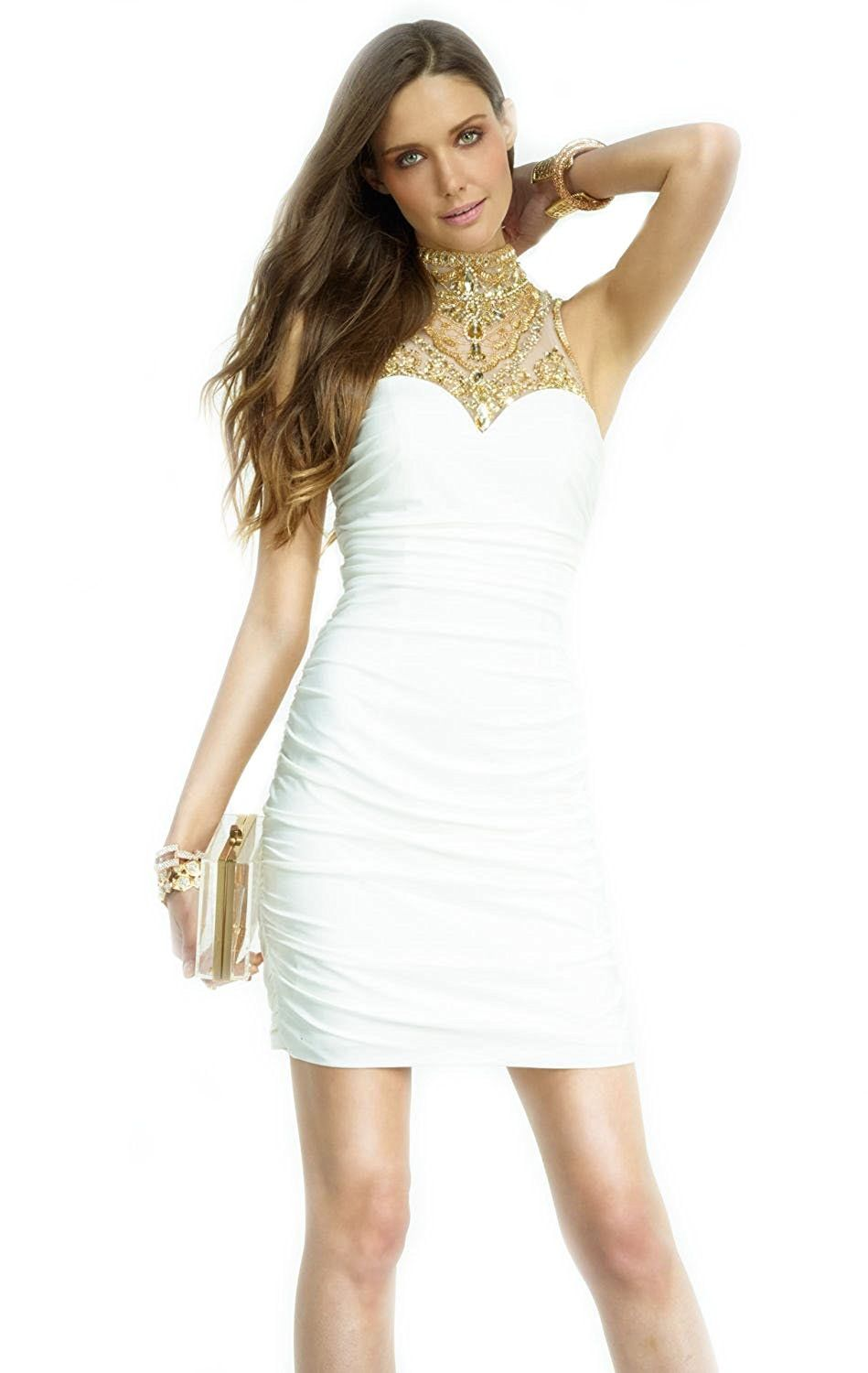 Topsexy ivorygold beaded cocktail mini dress white short prom