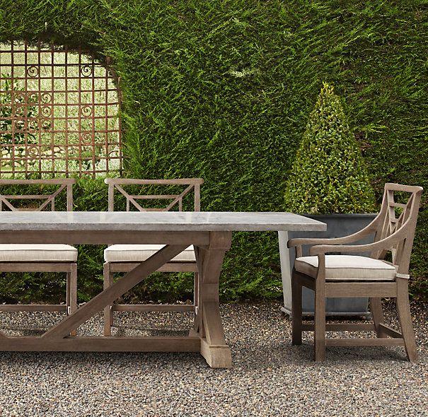 Belgian Trestle Weathered Concrete Teak Rectangular Dining Table