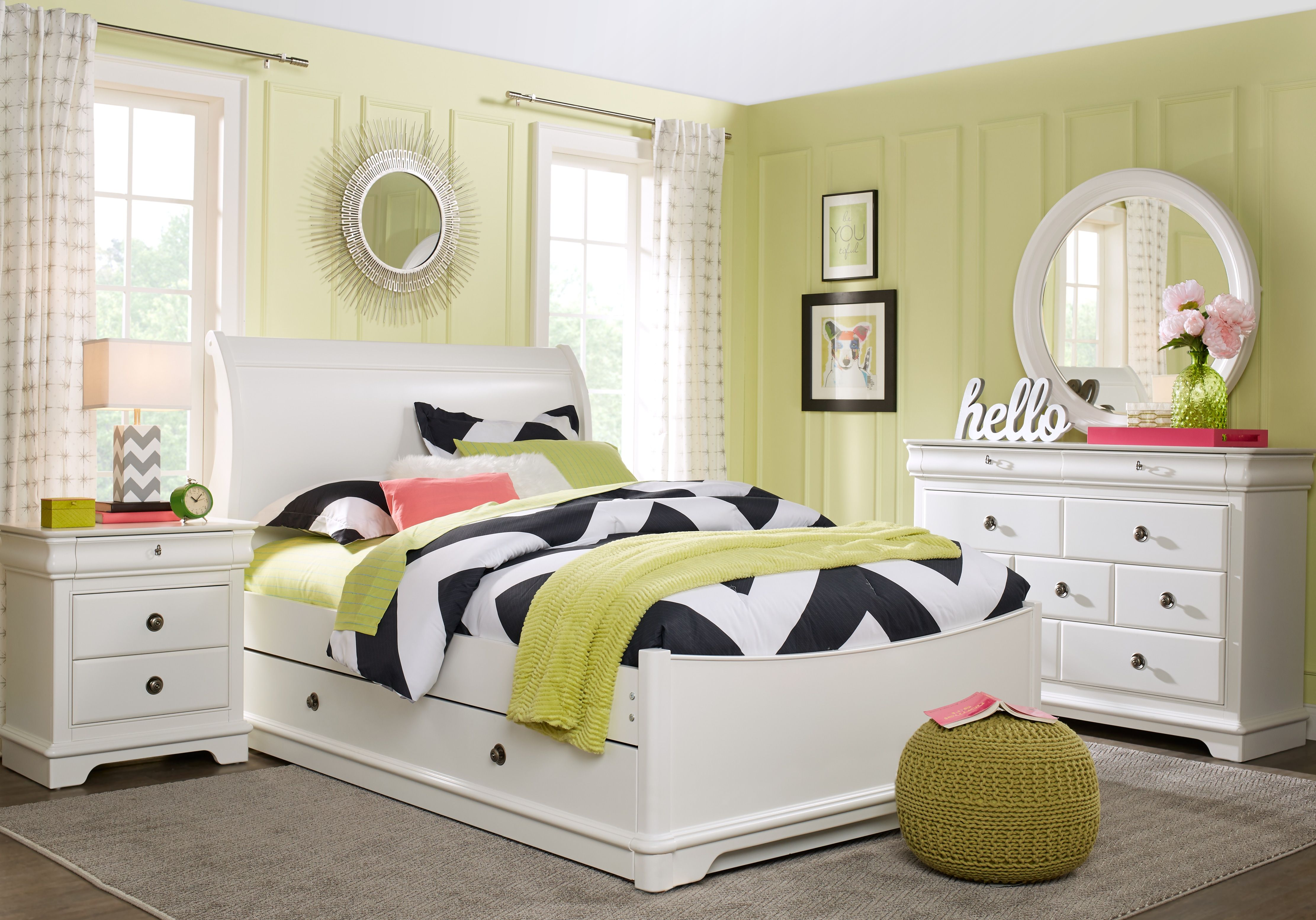 oberon white 5 pc twin sleigh bedroom  girls bedroom sets