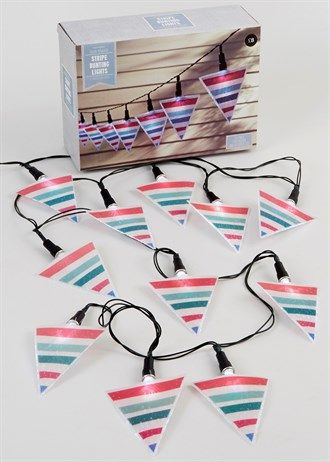 12 Stripe Bunting Solar Powered LED Lights (4.2m)