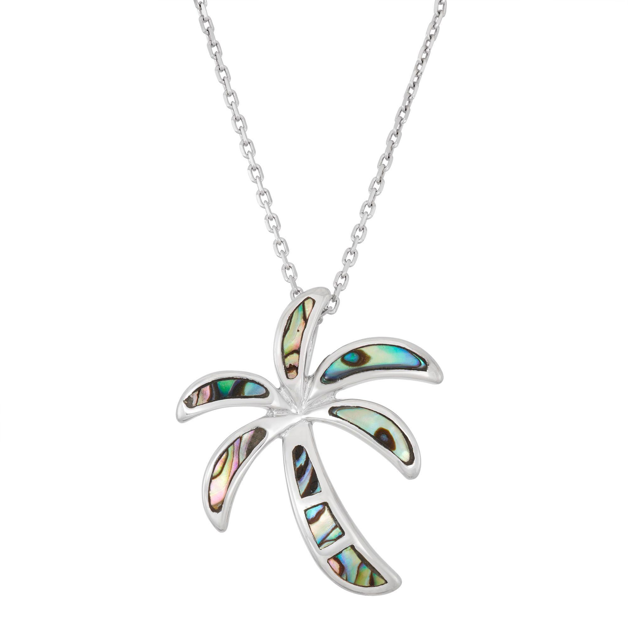 La Preciosa Sterling Silver Abalone Palm Tree Necklace
