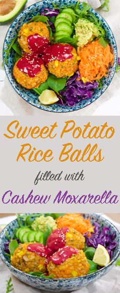 The Tasty K Sweet Potato Rice Balls Http Thetastyk Com Sweet Potato Rice Vegan Appetizers Rice Balls