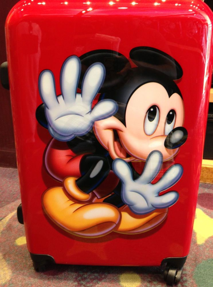 Disney Parks Mickey Mouse Red Hard Shell Large Rolling Suitcase NEW
