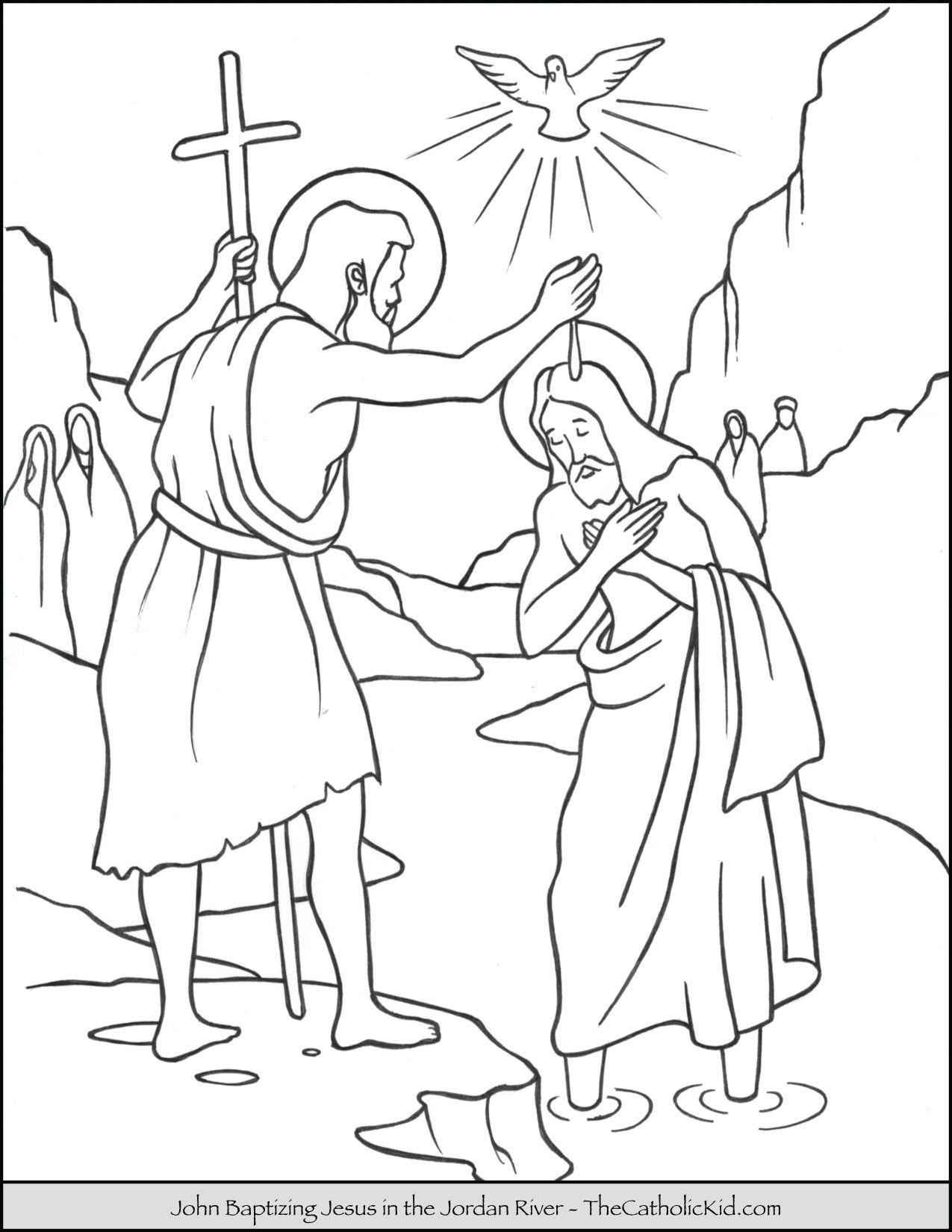 Saint John Baptizing Jesus In The River Jordan Coloring Page Thecatholickid Com Jesus Coloring Pages Coloring Pages Sunday School Coloring Pages