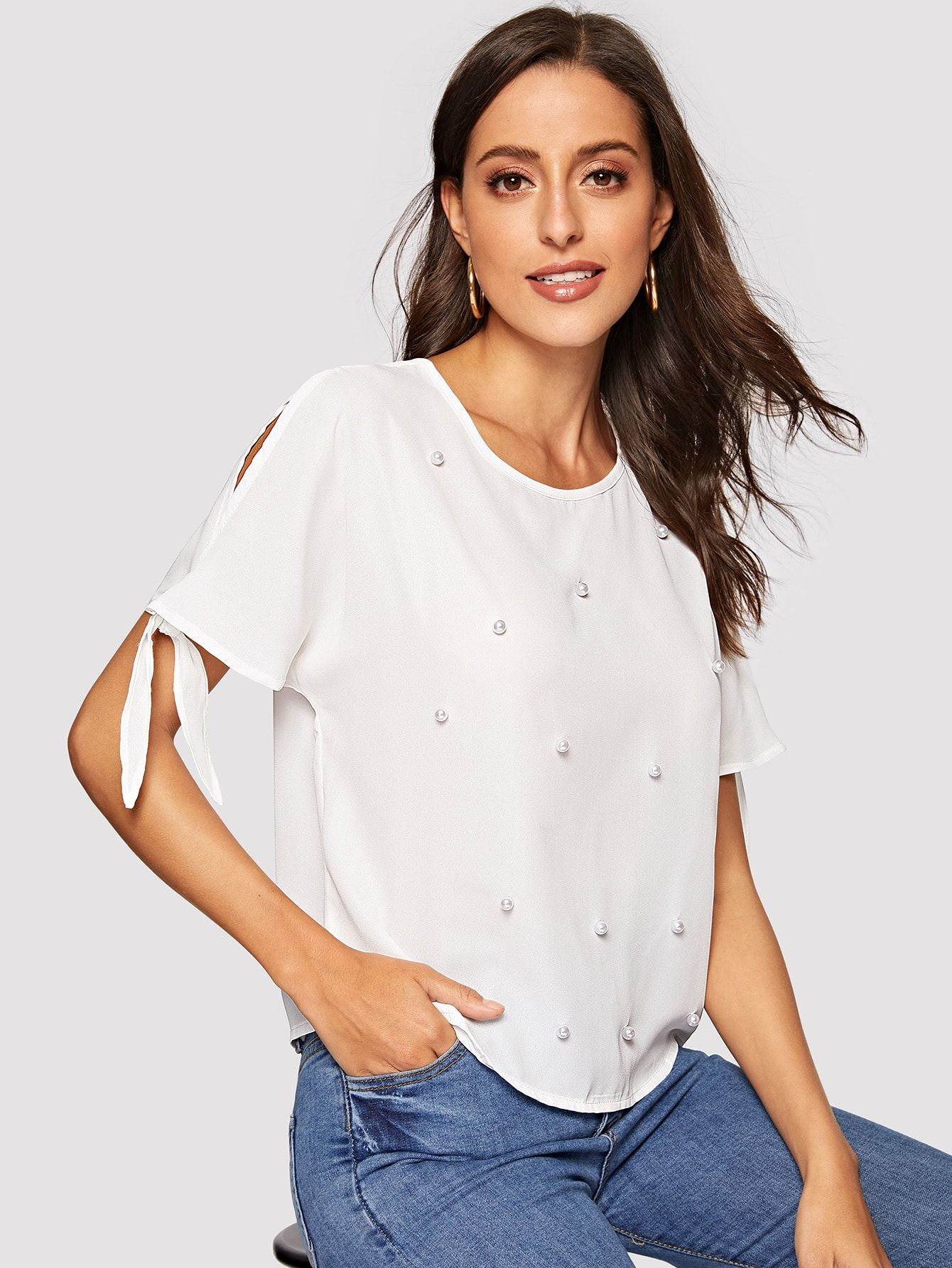 Casual Plain Top Regular Fit Round Neck Short Sleeve Split Sleeve Pullovers White Regular Length Pearls Beaded Split Knot Cuff Top In 2020 Cuffed Top Plain Tops Blouses For Women
