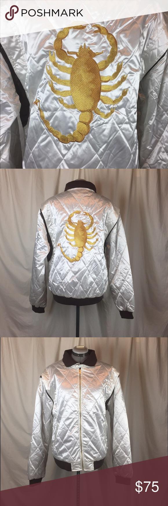 White Scorpion Drive Bomber Jacket Brown Bomber Jacket Bomber Jacket Clothes Design [ 1740 x 580 Pixel ]