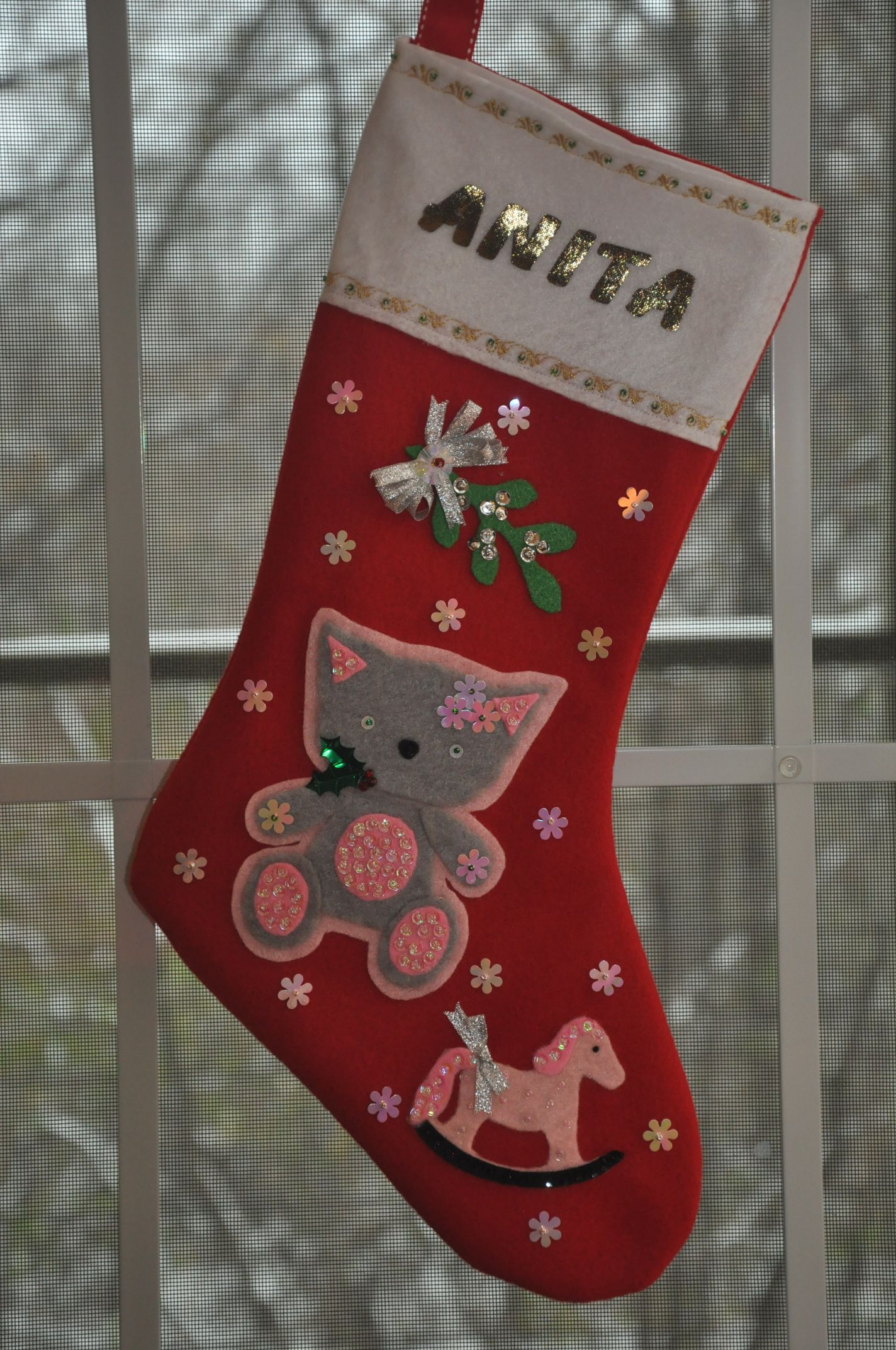 Startling Rocking Horse Grey Pink Cat Stocking Mistletoe Grey Pink Cat Stocking Rocking Horse Cat Stocking Her Cat Stocking Filled Mistletoe