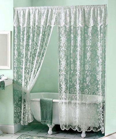 Shabby Chic White Vintage Rose Lace Shower Curtain Valance Set