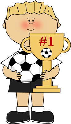 Boy With Soccer Trophy Clip Art
