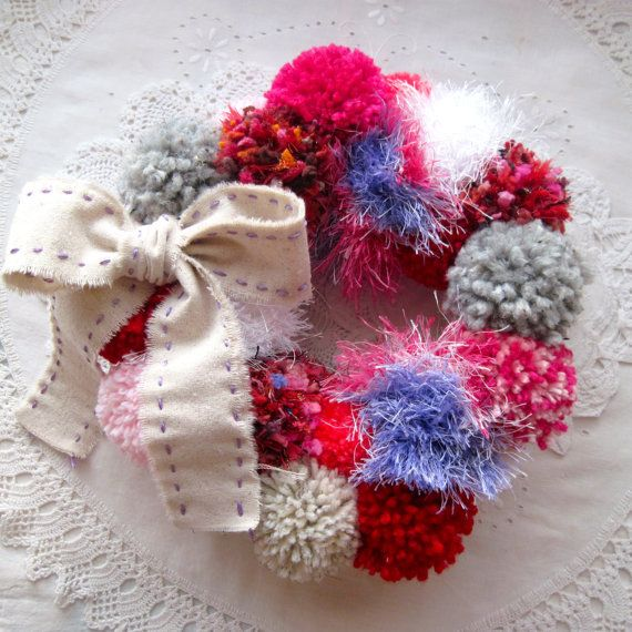 Bright and Colorful Valentines Day Pom Pom Wreath by TheRadishPatch