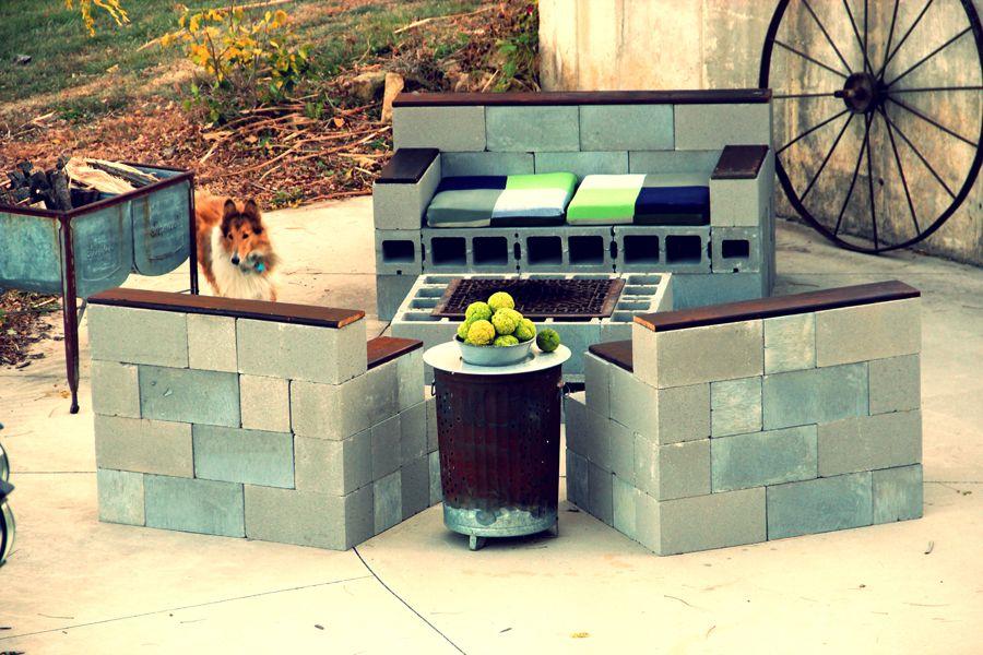 concrete block furniture. Cinder Block Bench And Fire Pit Concrete Furniture