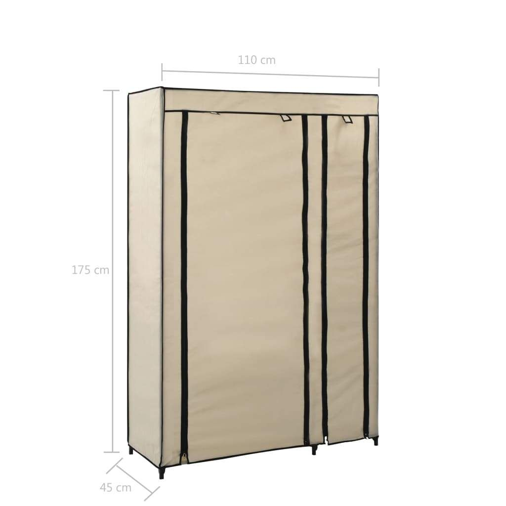 vidaXL Folding Wardrobe Cream 110x45x175 cm Fabric