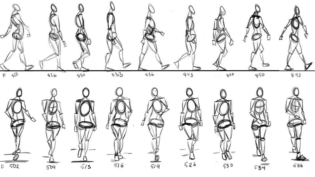 Walking Cycle Thumbnails By Anaisgomez Deviantart Com On Deviantart Walking Animation Animation Reference Walking Poses