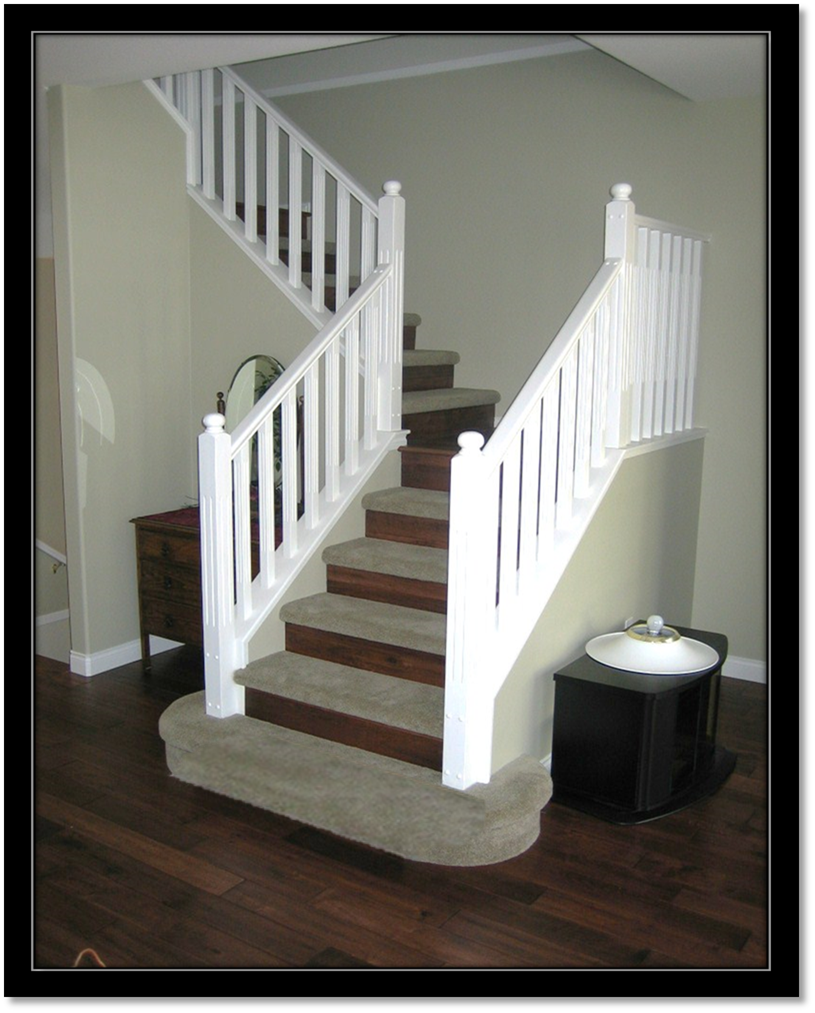 Carpet treads, laminate risers. Safer and easier on the