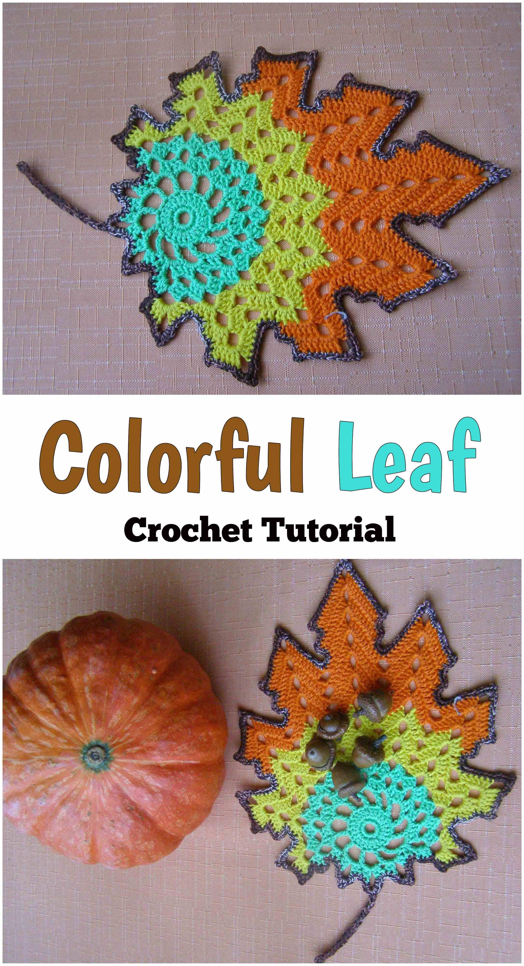 Crochet Colorful Leaves   Blüten, Blüten häkeln und Weihnachtsideen