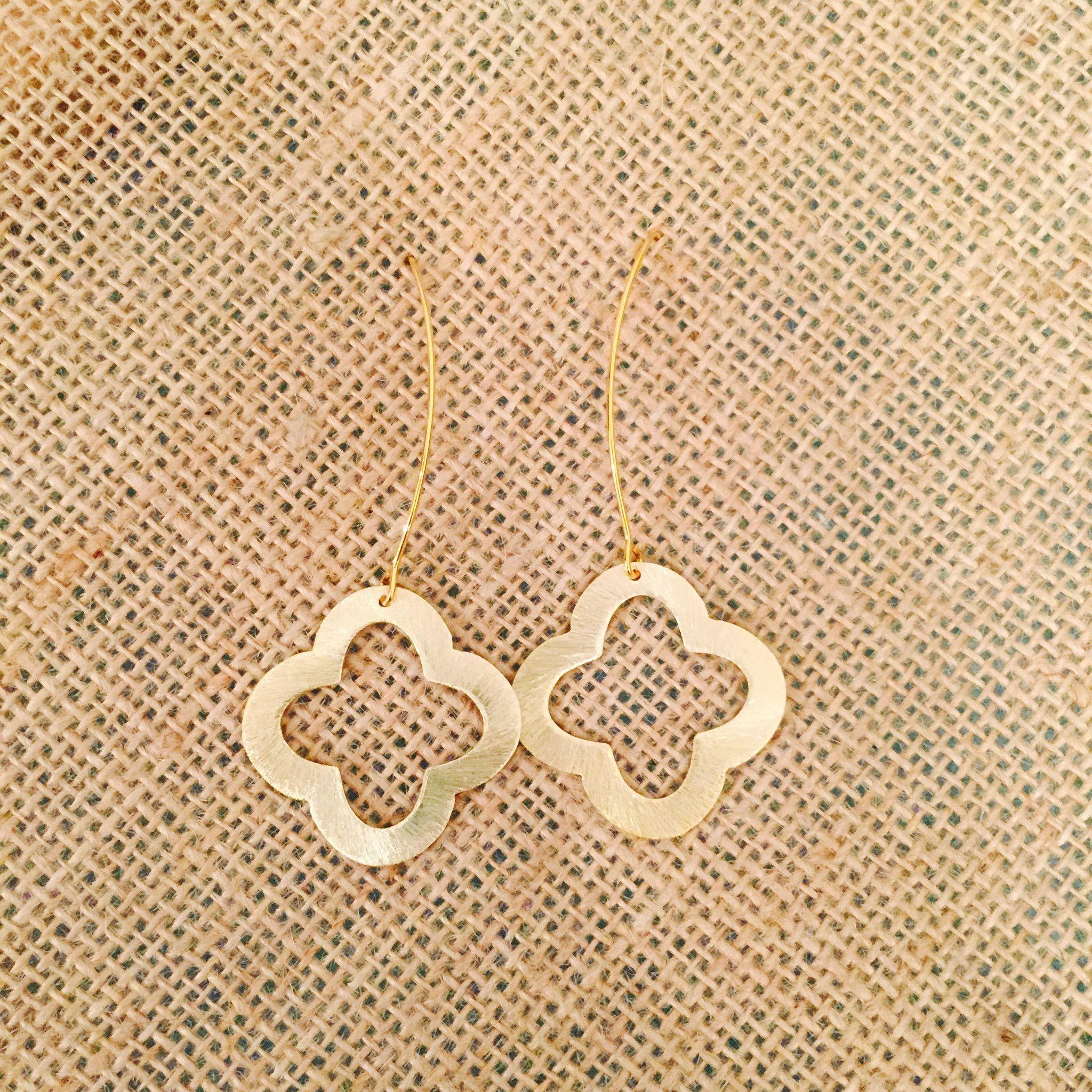 Betsy Pittard Quatrefoil on V- Hook Earrings