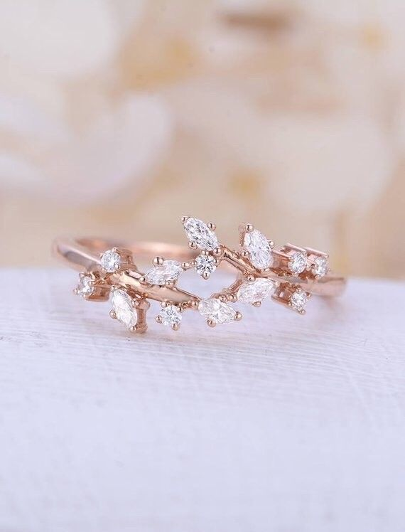 18k Rose Gold Natural Conflict Free Diamonds Comfortable Band With Images Rose Gold Engagement Ring Vintage Gold Engagement Rings Rose Gold Engagement Ring Vintage