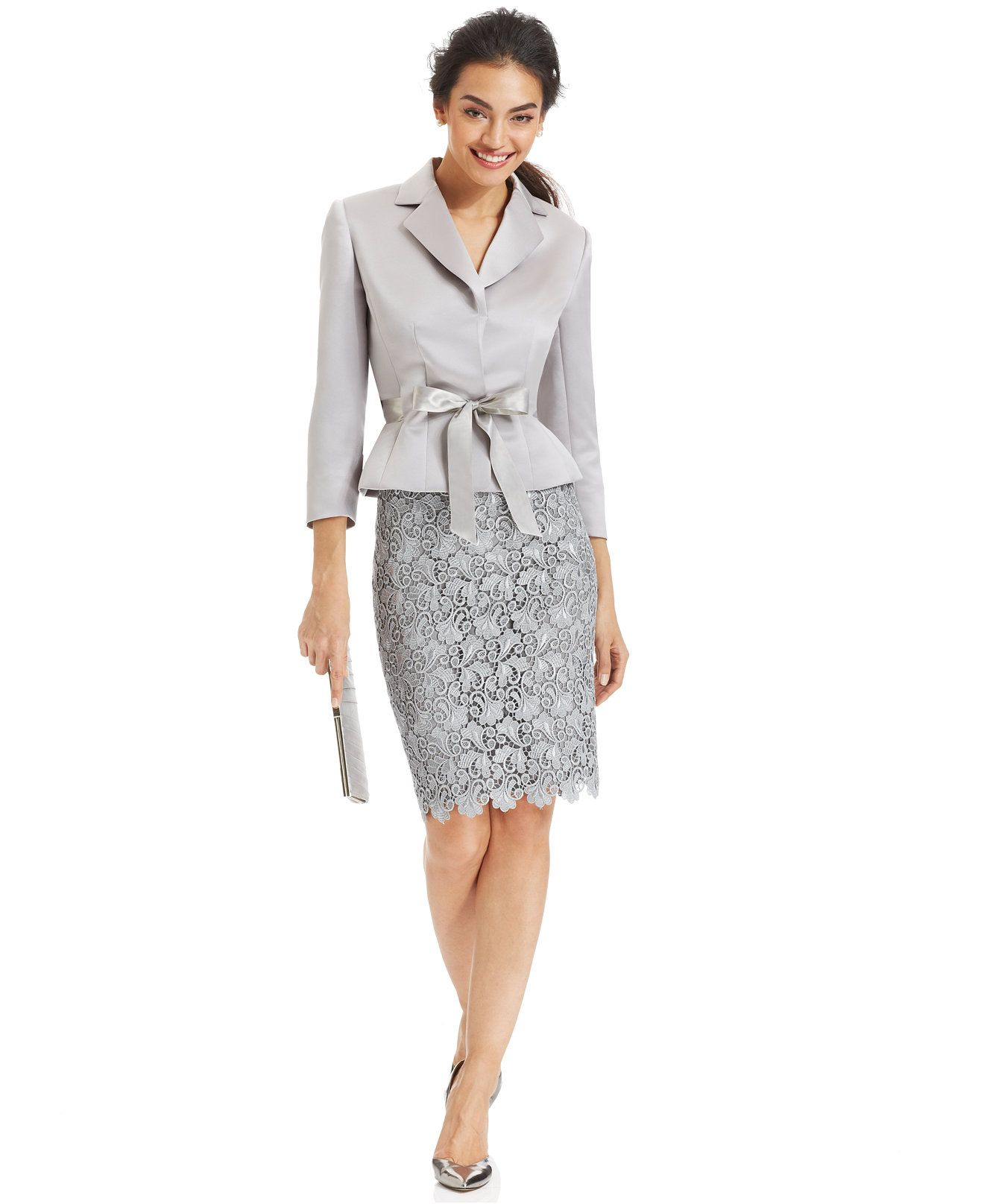 Tahari Asl Belted Jacket Lace Skirt Suit Wear To Work Women