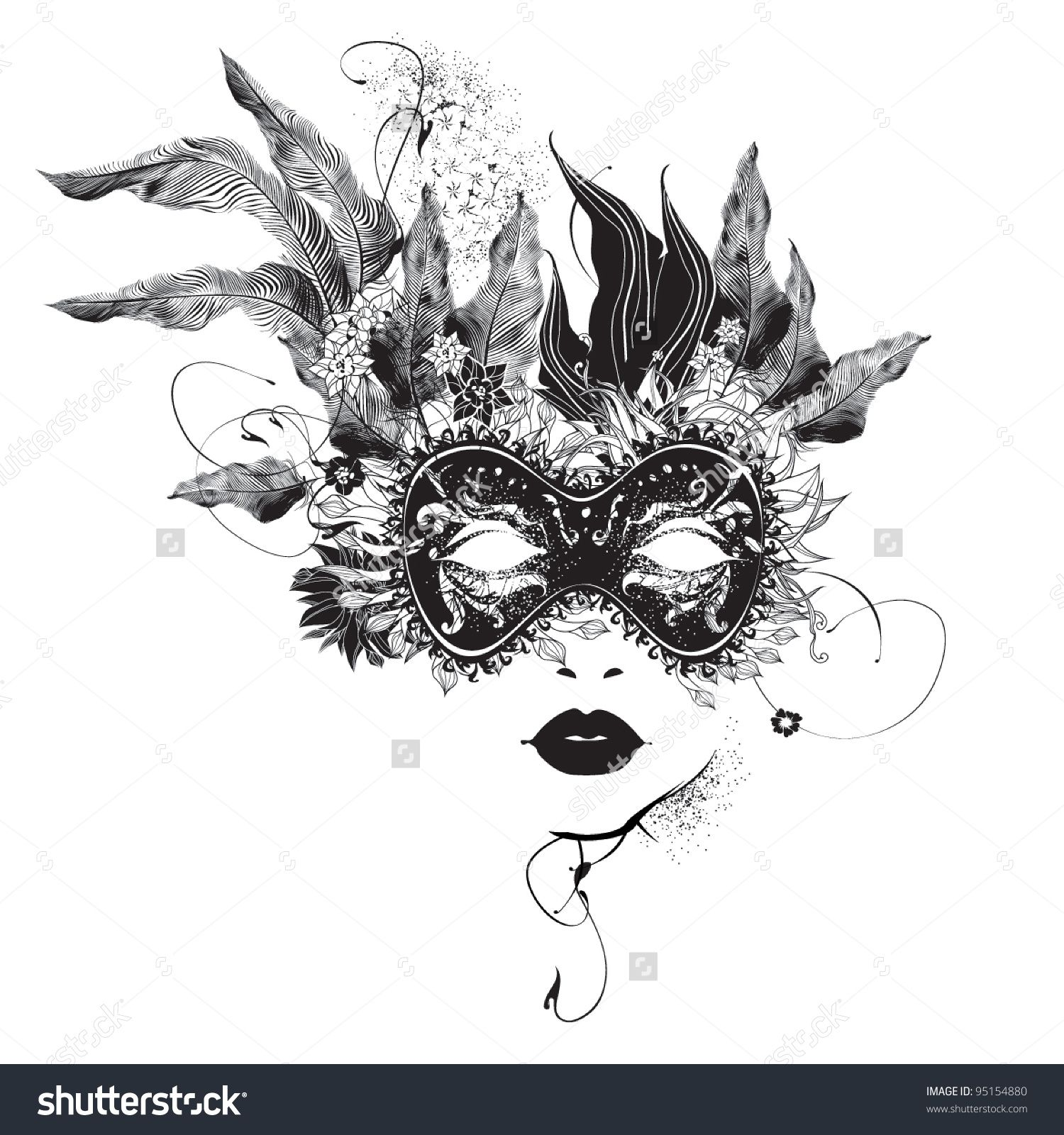 Summer beach scene vector stock vector colourbox - Image Vector Abstract Woman Mask With Flowers Black And White