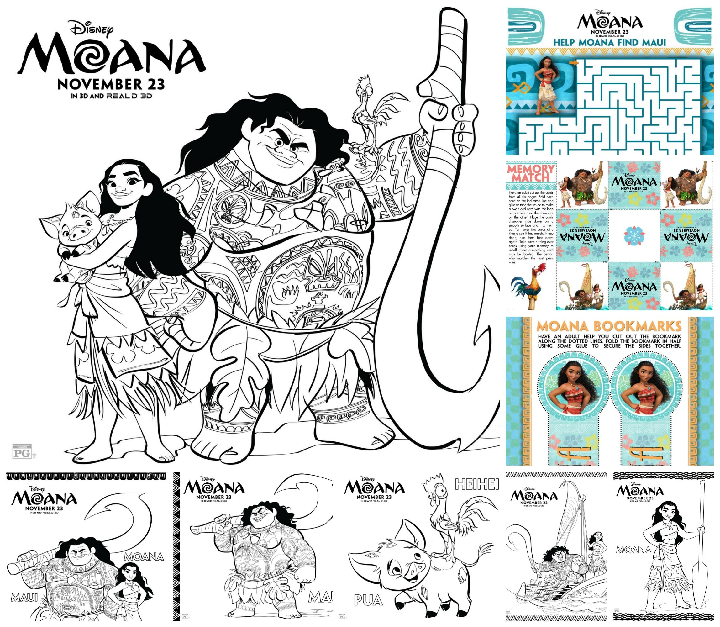 moana printable activities including coloring pages mazes and