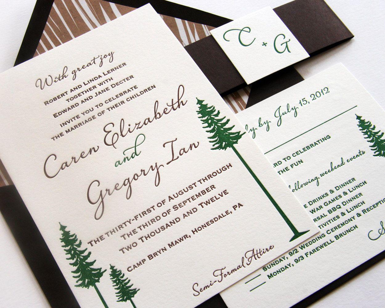 Letterpress Wedding Invitation - custom set - Rustic Camp Themed ...