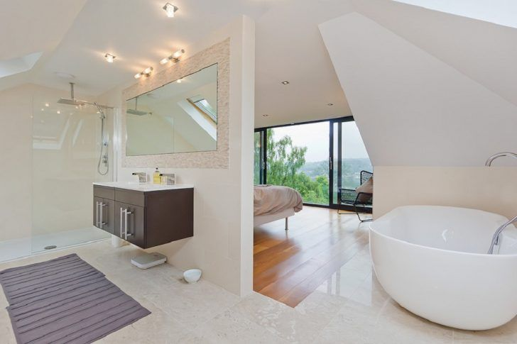 Beautiful concept of contemporary bedroom and ensuite ...