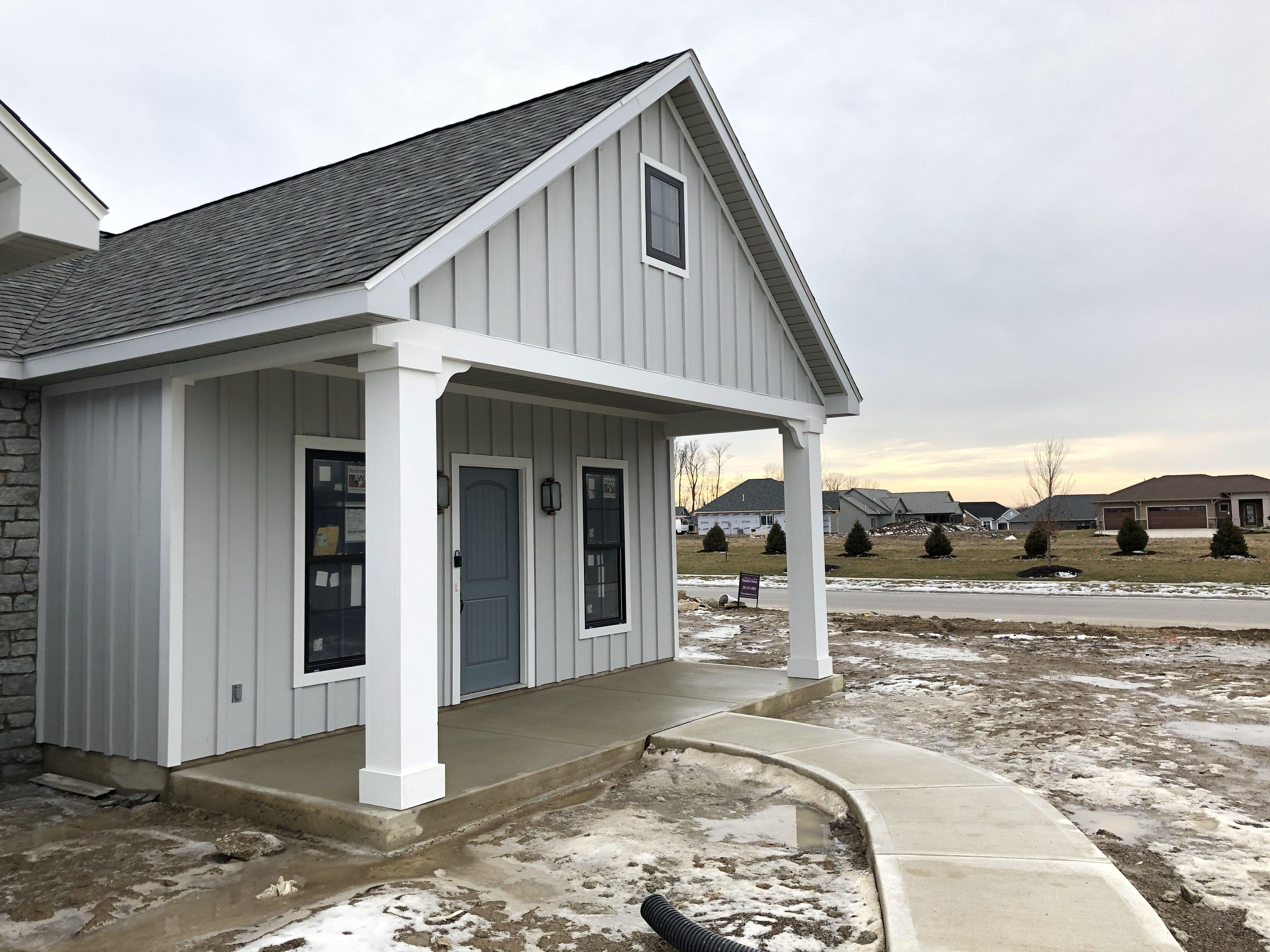 Front Porch Grey Board And Batten Exterior Design Porch House Exterior