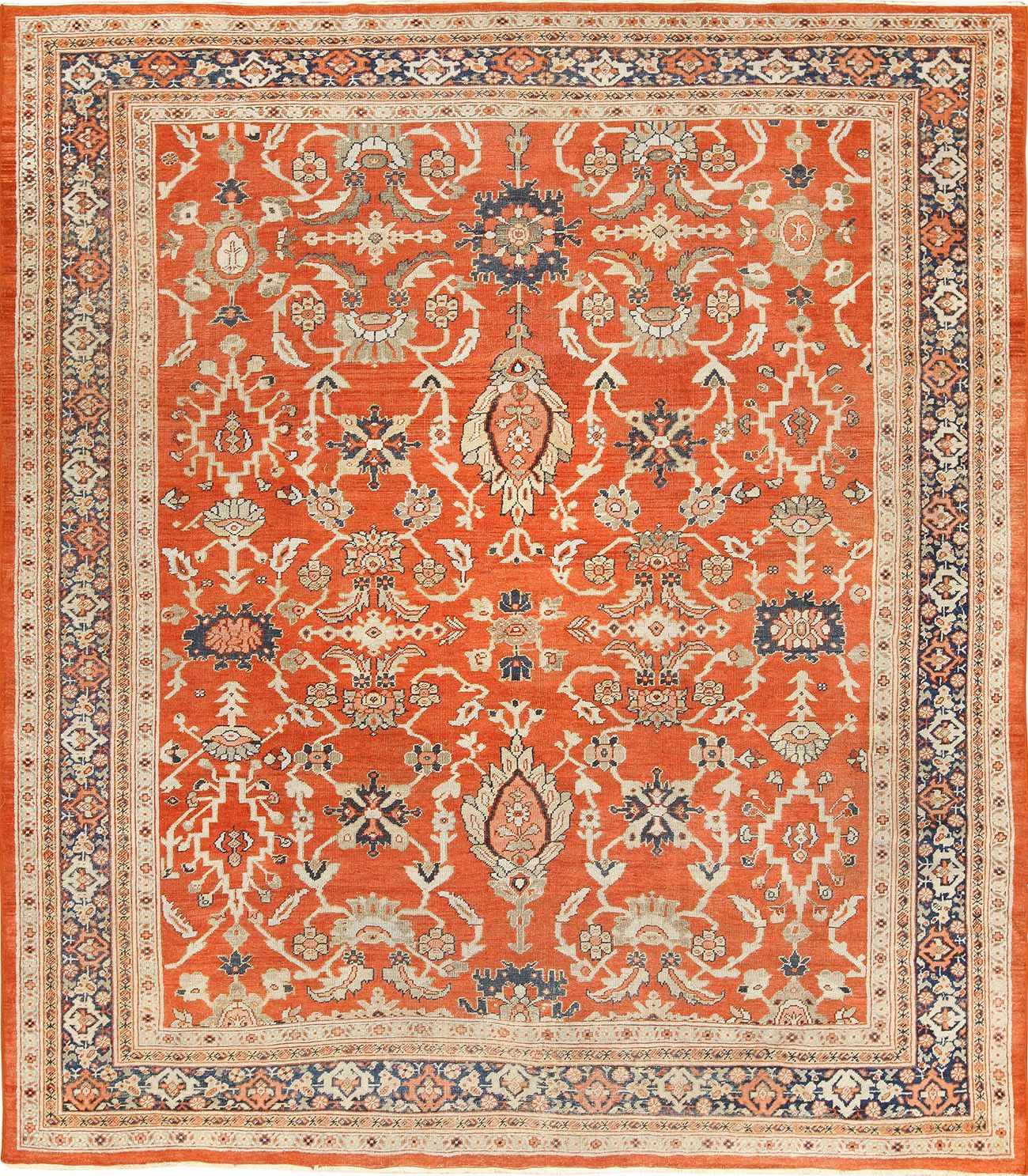 View This Magnificent Rusty Red Background Square Antique Persian Sultanabad Rug 49760 Available For Sale At Nazmiyal Sultanabad Rug Rugs Antique Persian Rug