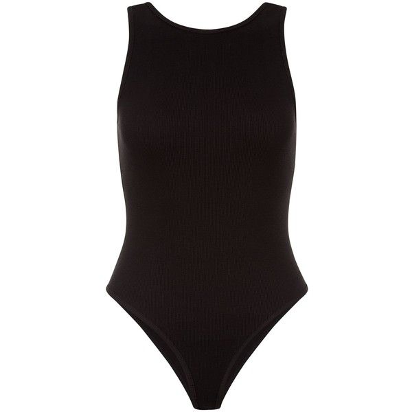 New Look Black Ribbed Sleeveless Bodysuit (€12) ❤ liked on Polyvore featuring intimates, shapewear and black