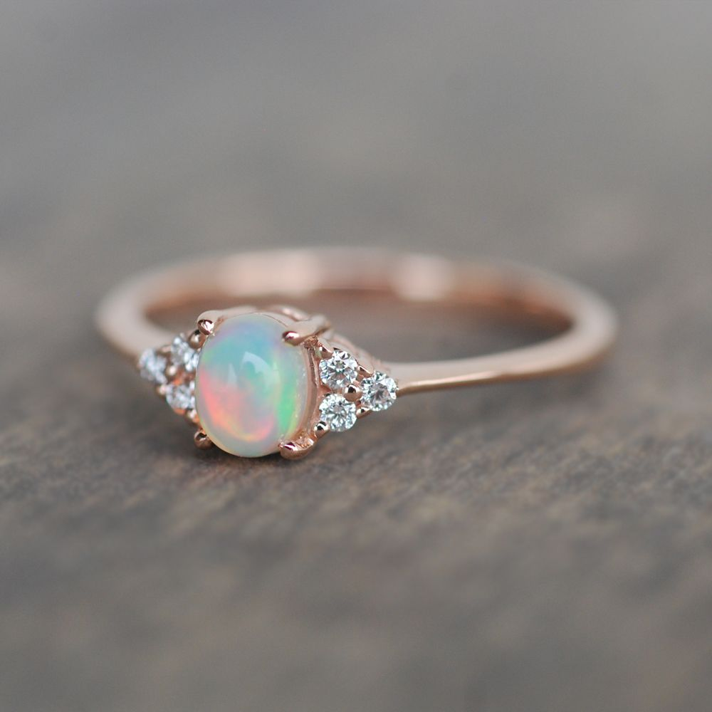 Opal Engagement Ring Valentine Gift Dainty Ring 14k Rose Gold Opal Ring Natural Opal Diamond Wedding Ring Deco Engagement Ring In 2020 Engagement Rings Opal Opal Ring Gold Rose Gold Opal Ring