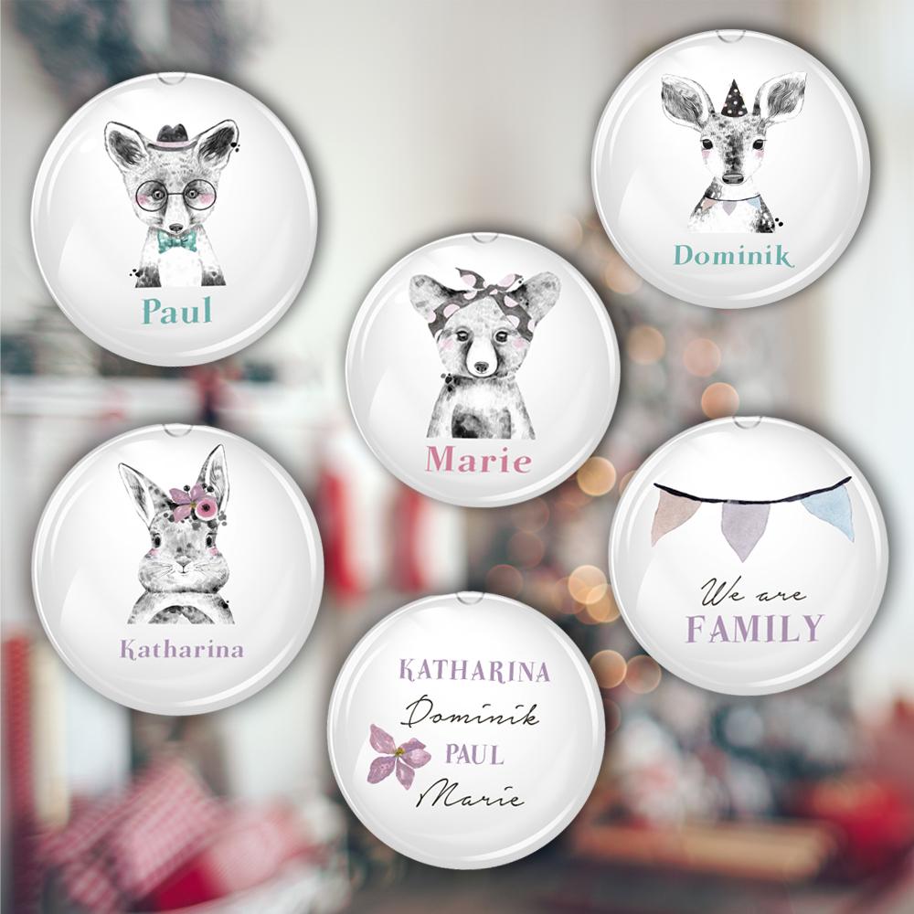 Weihnachtskugel mit süßem Tier und Namen